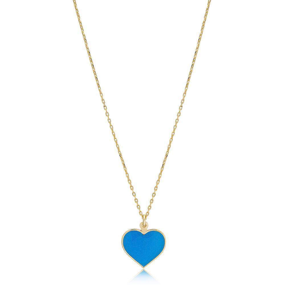 asimenio kolie me mple kardia smalto epixrisomeno silver ue enamel heart necklace rose gold plated Pendant Necklace in Cyan Heart - Gold Plated - ασήμι 925